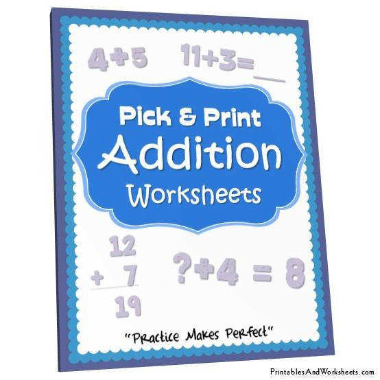 K 5 Addition Worksheets Bundle Cover