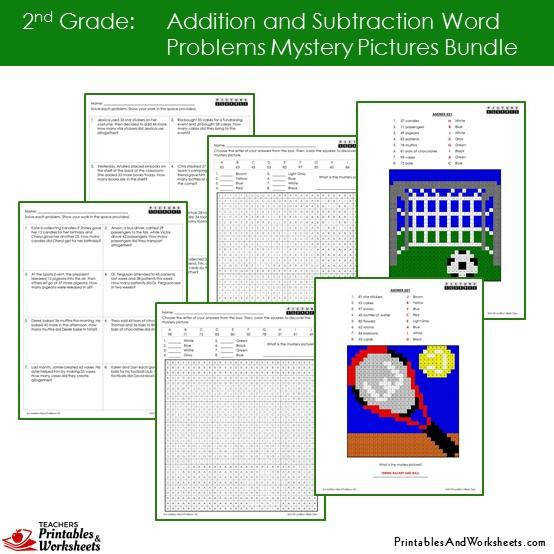Grade 2 Addition and Subtraction Word Problems Mystery Coloring Worksheets Sample 2