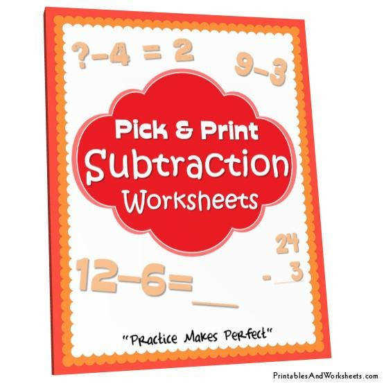 Subtraction Worksheets Bundle Cover