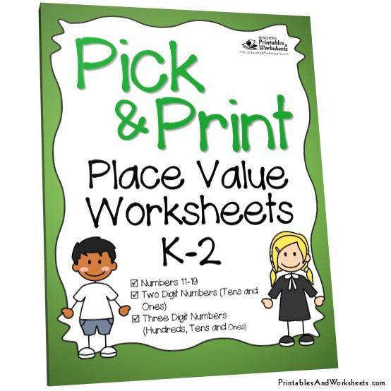Kindergarten to Grade 1 2 Place Value Worksheets Cover