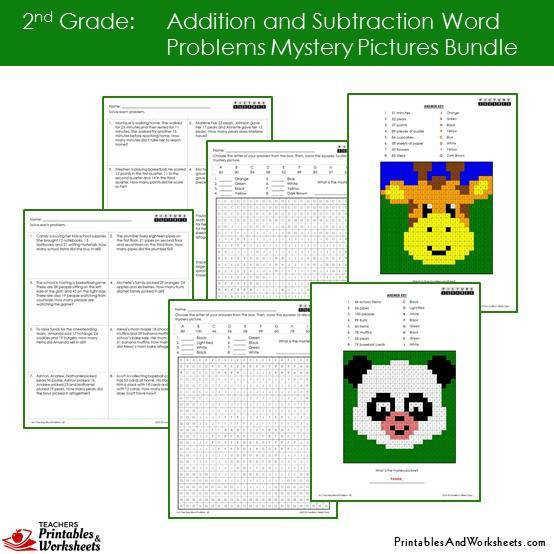 Grade 2 Addition and Subtraction Word Problems Mystery Coloring Worksheets Sample 1