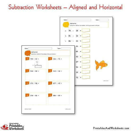 Subtraction Worksheets Bundle Aligned and Horizontal