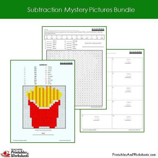 Grade 2 Subtraction Mystery Coloring Worksheets Sample 2