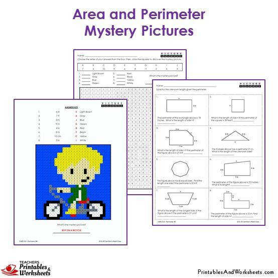 3rd Grade Area and Perimeter Mystery Coloring Worksheets Boy on a Bike