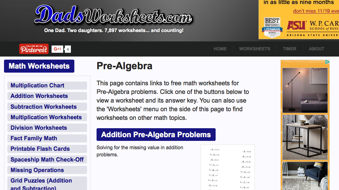 dads worksheets pre algebra worksheet