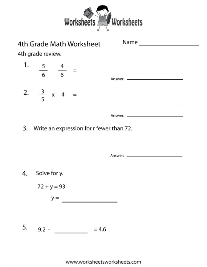 4th Grade Math Worksheets Free Printable For Teachers Subtraction Fourth Practice Work Printable Worksheets For 4th