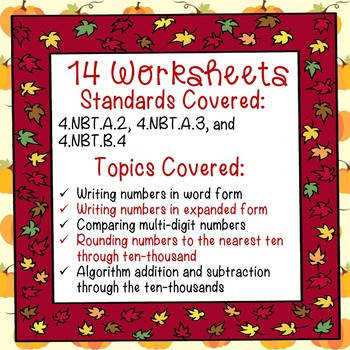 Autumn Math Worksheets Fall Worksheets 4th Grade mon Core