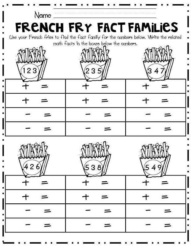 fact family worksheets for first grade addition