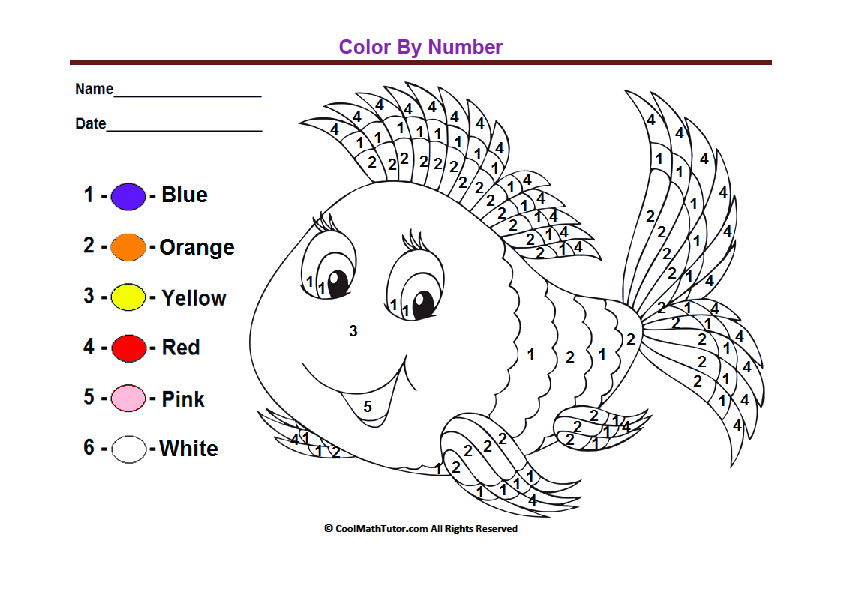 Trend Color By Number Worksheets For Kindergarten