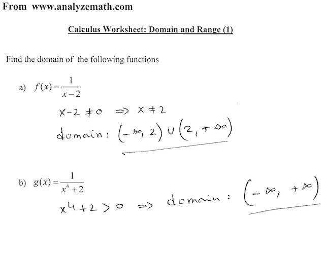 Analyze Math Calculus Example Worksheet Screenshot