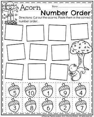 FREE Fall Preschool Worksheet for November Acorn Number Order
