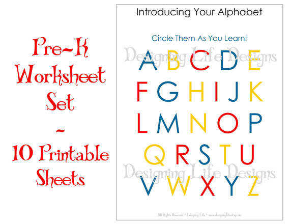 Homeschool Worksheets 10 Printable Pages for Pre K to Kindergarten