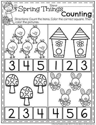 FREE Preschool Counting Worksheets for Spring