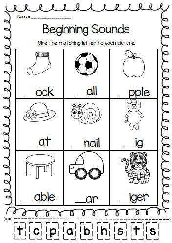 Beginning Sounds Printable Worksheet Pack Pre K Kindergarten First Grade