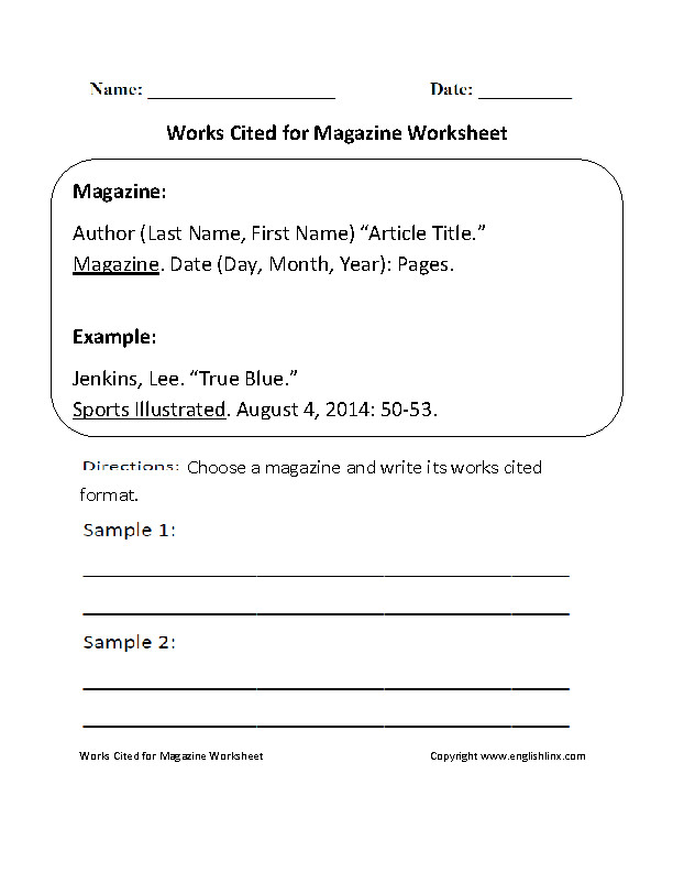 Works Cited Worksheets