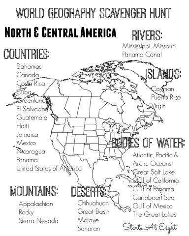 World Geography Scavenger Hunt Printable North & Central America from Starts At Eight