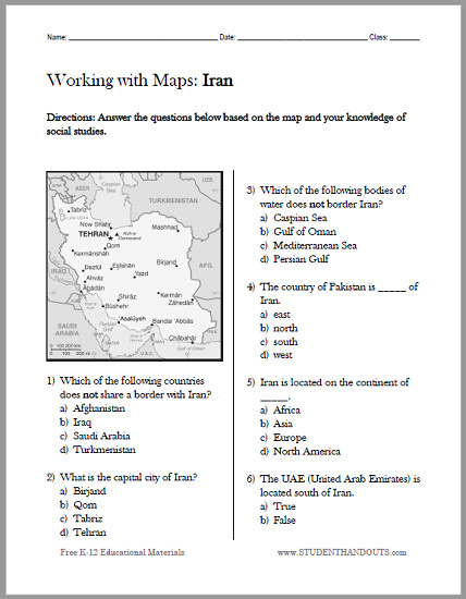 Iran Map Worksheet Free to print PDF file Designed for students in