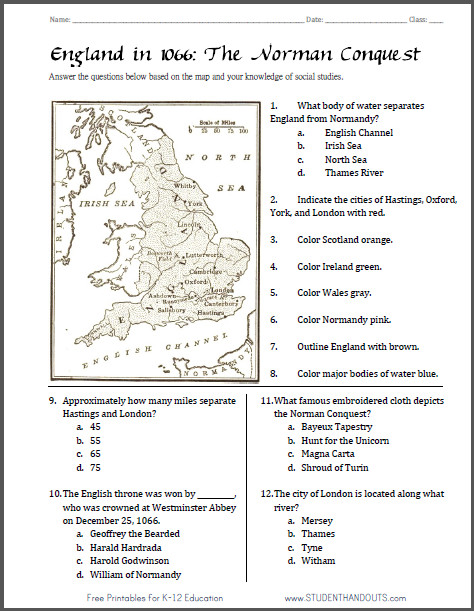 Norman Conquest England 1066 Map Worksheet