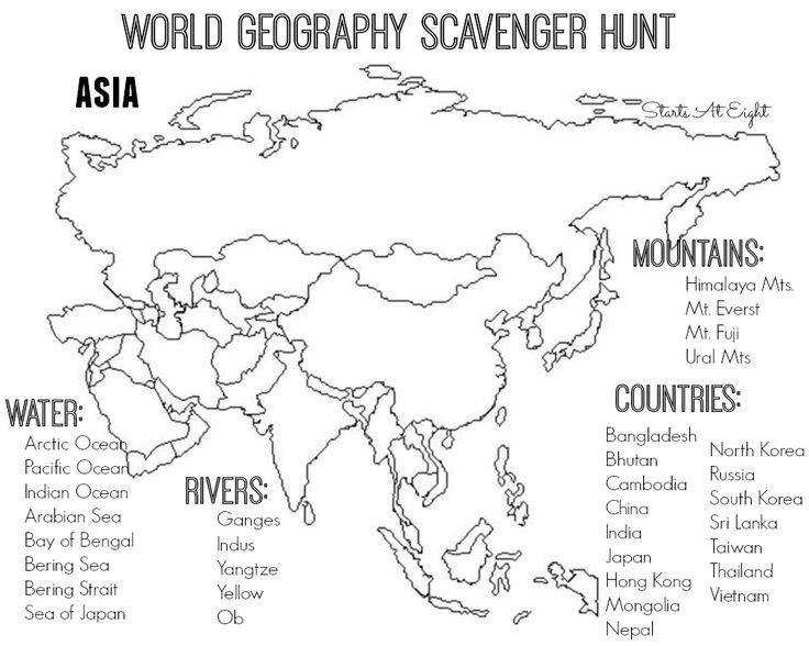 World Geography Scavenger Hunt Printable Asia from Starts At Eight