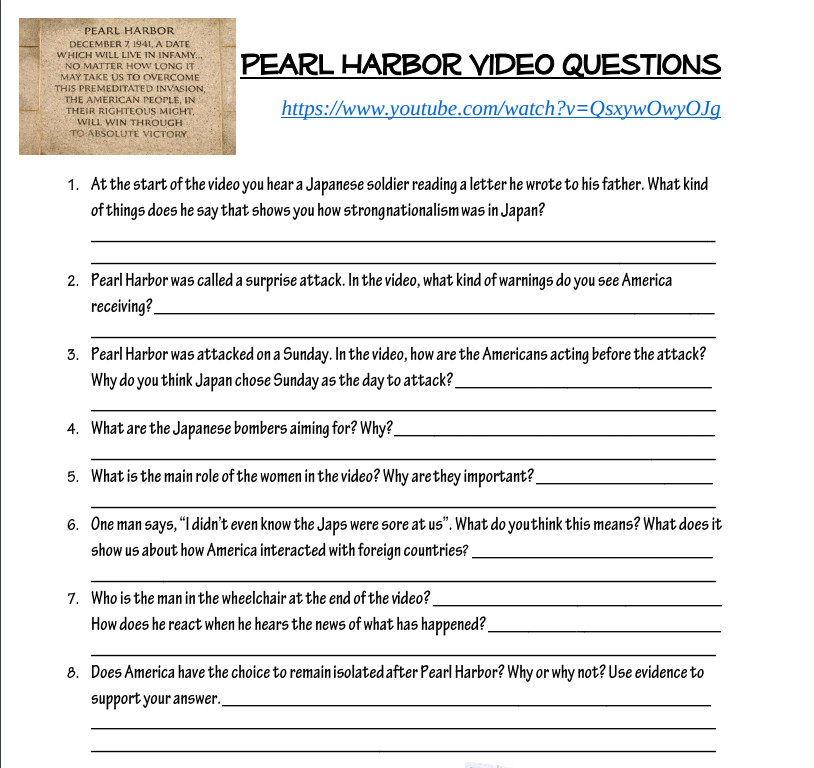 Pearl Harbor Worksheet