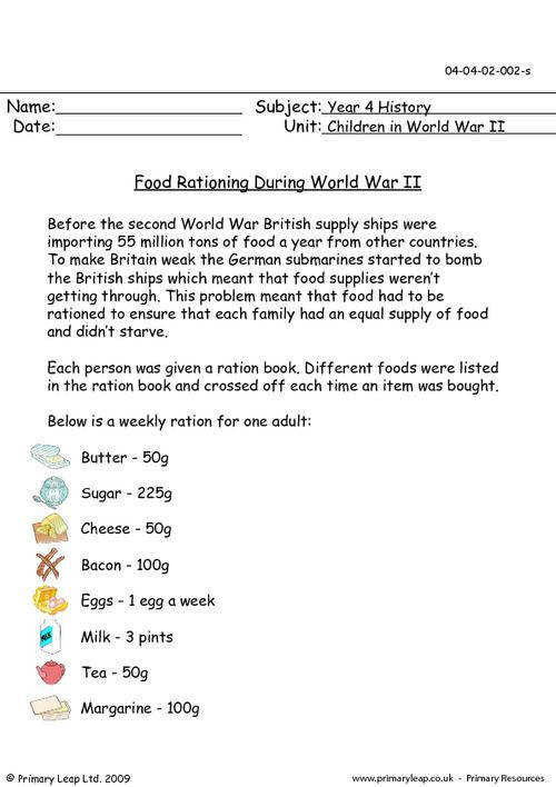 PrimaryLeap Food Rationing During World War II Worksheet