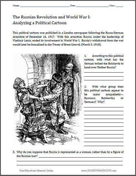 Analyze a Political Cartoon Worksheet Treaty of Brest Litovsk World War I Russian Revolution Free to print PDF file