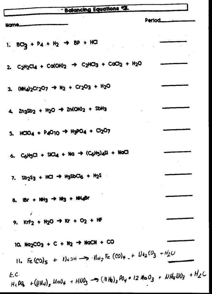 Worksheets Balancing Chemical Equations Worksheet Answer Key H2 O2 bliphone worksheet writing and balancing chemical reactions