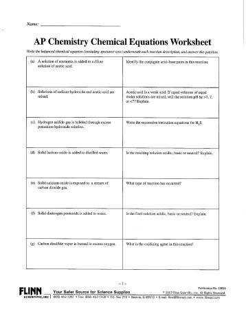 AP Chemistry Chemical Equations Worksheet