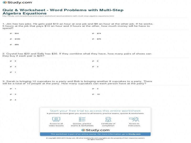 Quiz & Worksheet – Word Problems With Multi Step Algebra Equations size 800 x 600 px source study