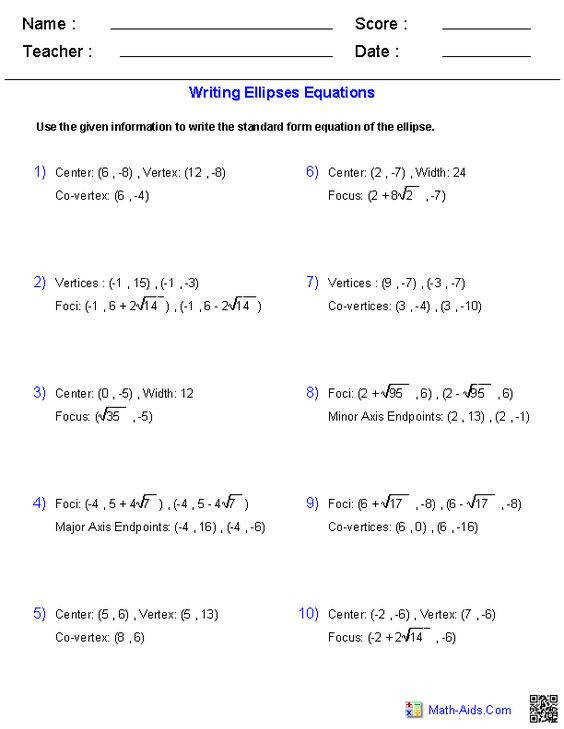 Circle Equation Worksheet