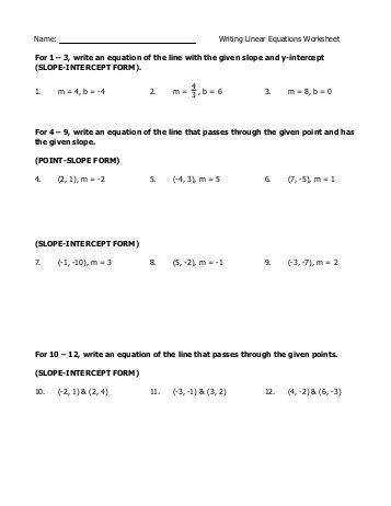 Printables Writing Linear Equations Worksheet name test 1a 1 write the equation of a line writing