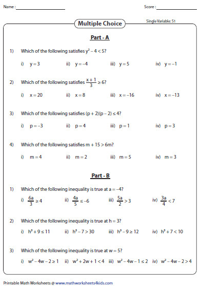 Evaluating Expressions Inequalities