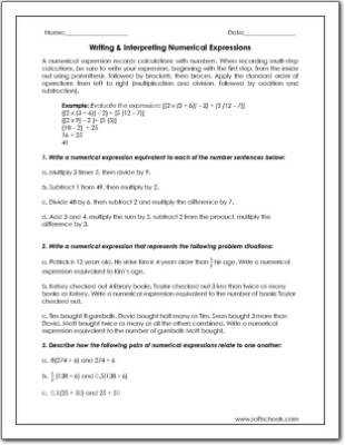Writing & Interpreting Numerical Expressions