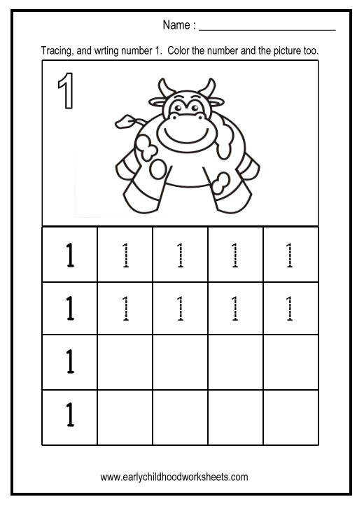Tracing and Writing Number 1 writing number worksheets