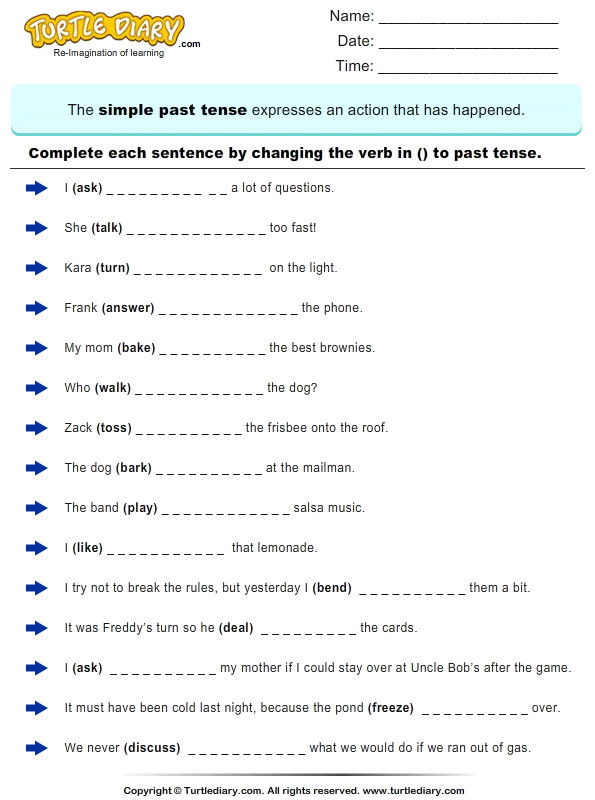 Change the Verbs to past Tense Form
