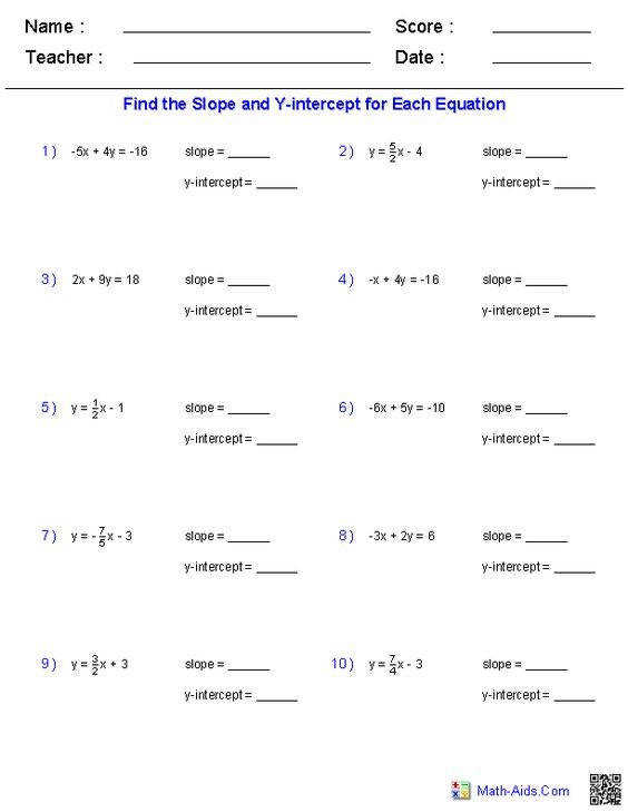 Worksheet Finding Slope And Y Intercept From A Linear Equation Slope