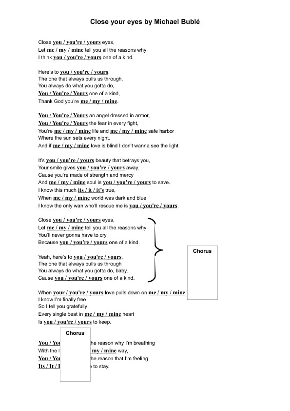Song Worksheet Close Your Eyes by Michael Bublé