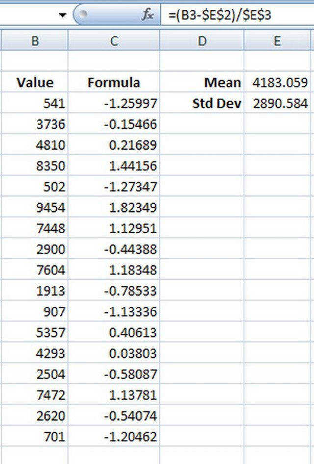 Z scores can be calculated using an Excel formula the value minus the data