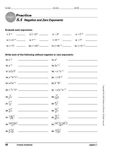 Worksheets Negative And Zero Exponents Worksheet 8 4 negative and zero exponent 9th 10th grade lesson